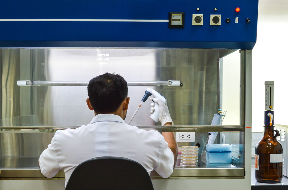 Working with biological safety cabinets laminar air flow in laboratory, Background of microbiology