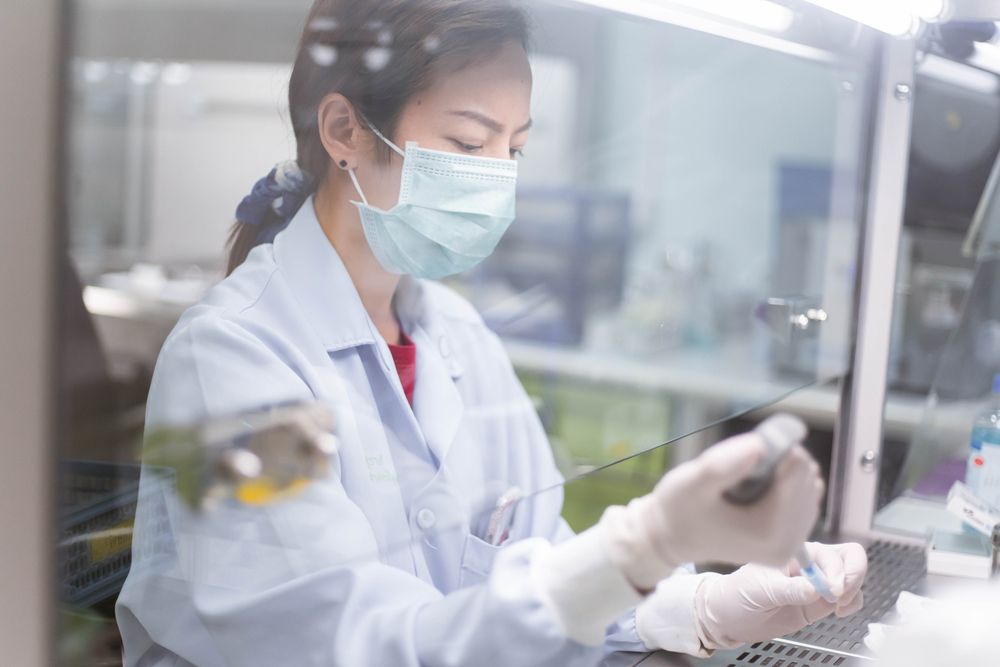 young scientist working in bio safety cabinet